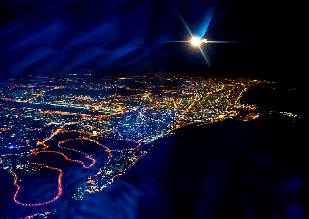 Dubai Luftaufnahme bei Nacht