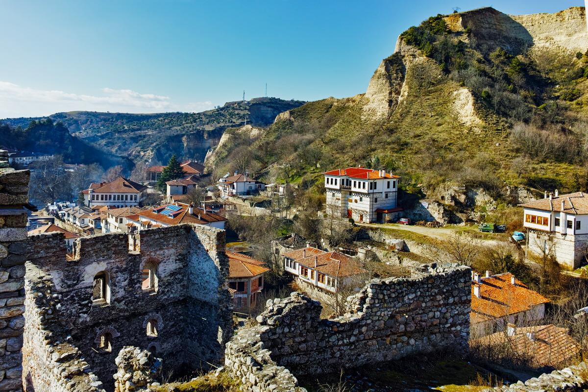 Ruinen der Slaw-Festung in Melnik in Bulgarien