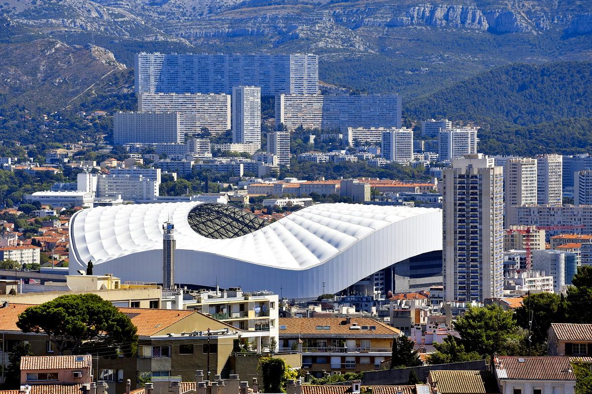 Blick auf das Stade Velodrome in Marseille