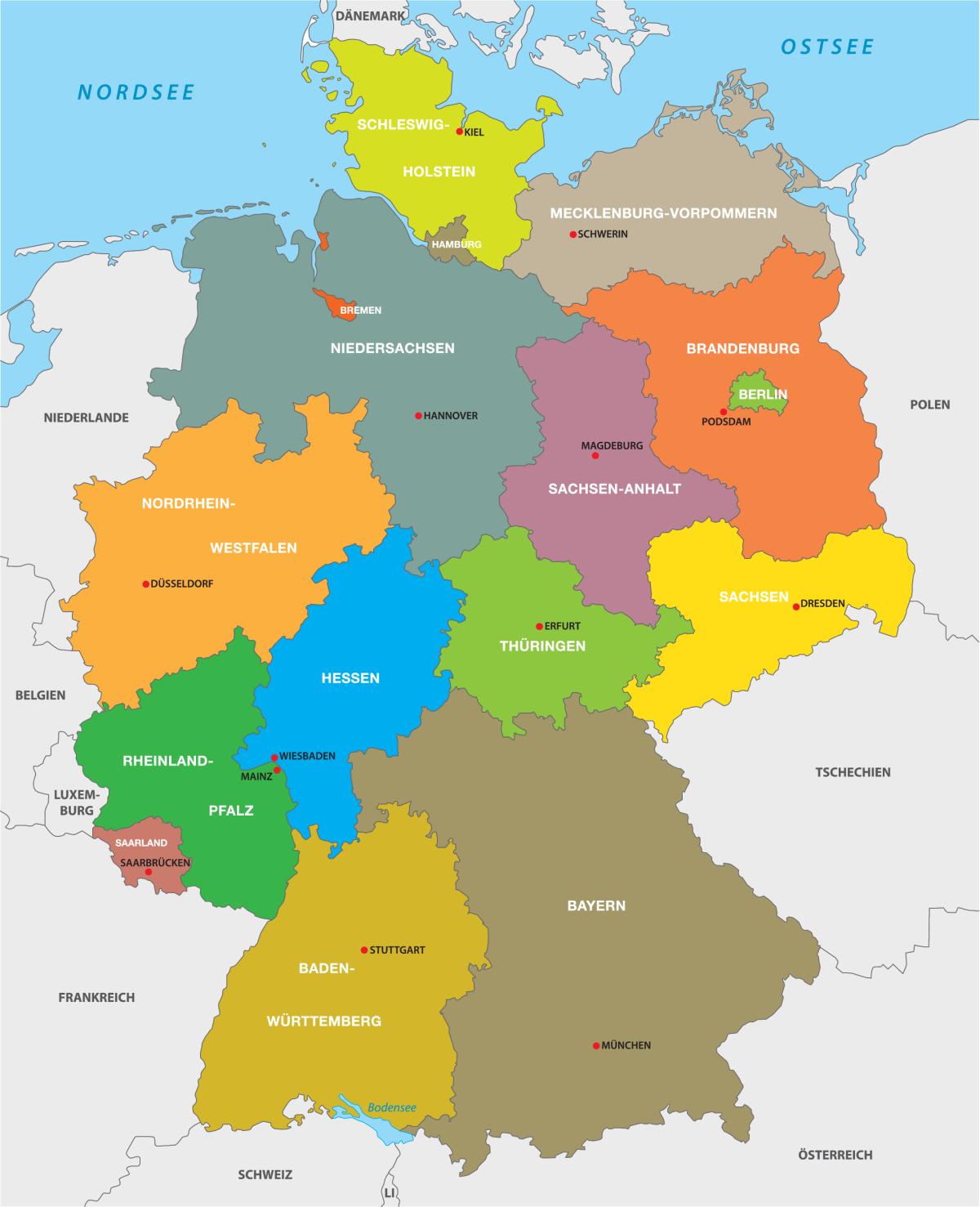 Karte der deutschen Bundesländer