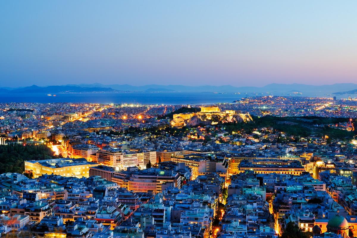 Nächtlicher Blick über Athen