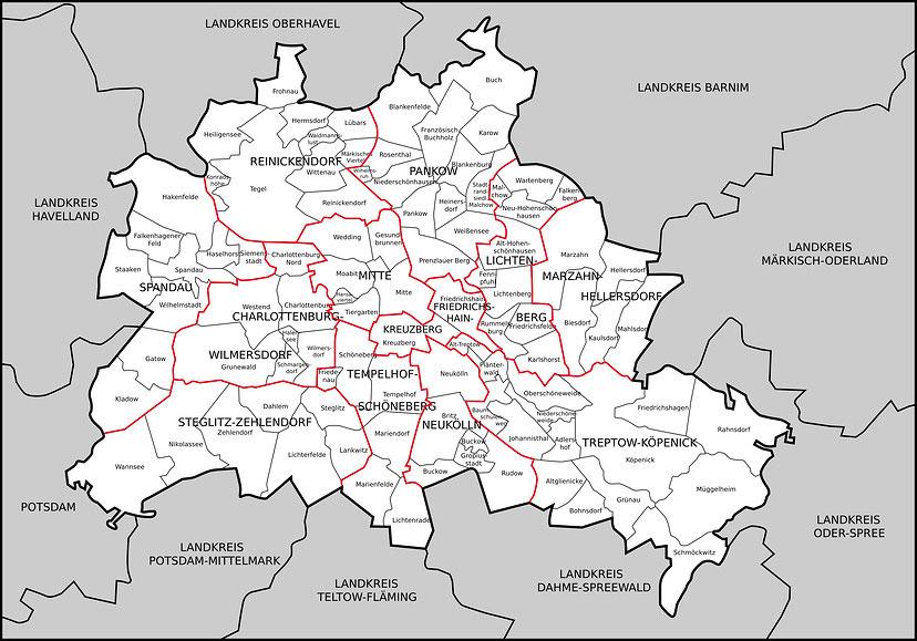 berliner bezirke liste und karte der stadtteile berlins. Black Bedroom Furniture Sets. Home Design Ideas