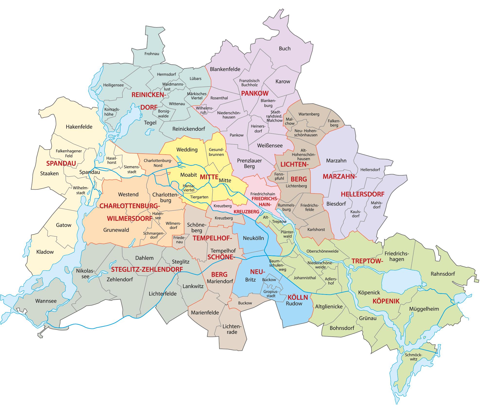 Berlin Stadtteile und Bezirke