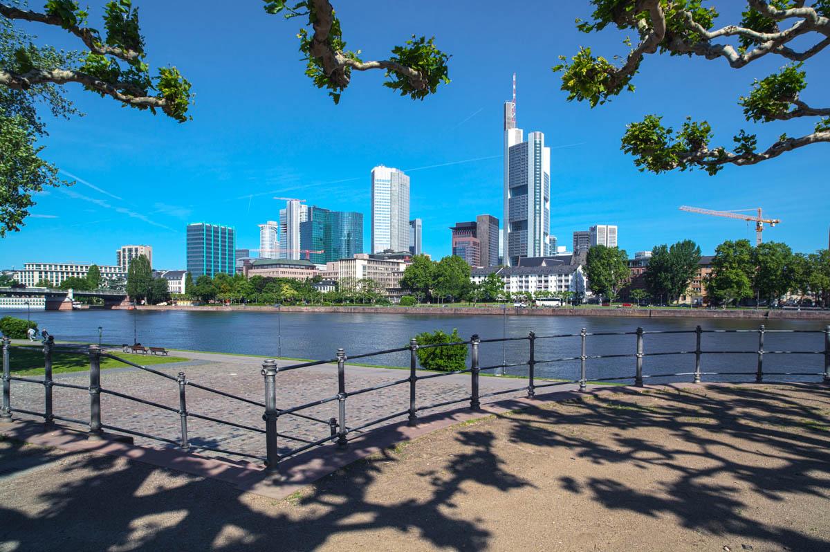Blick über den Main auf das Finanzzentrum Frankfurt
