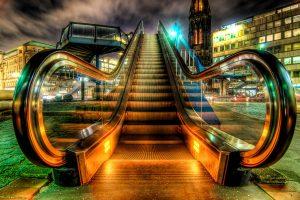 HDR Aufnahme einer Rolltreppe in Hamburg