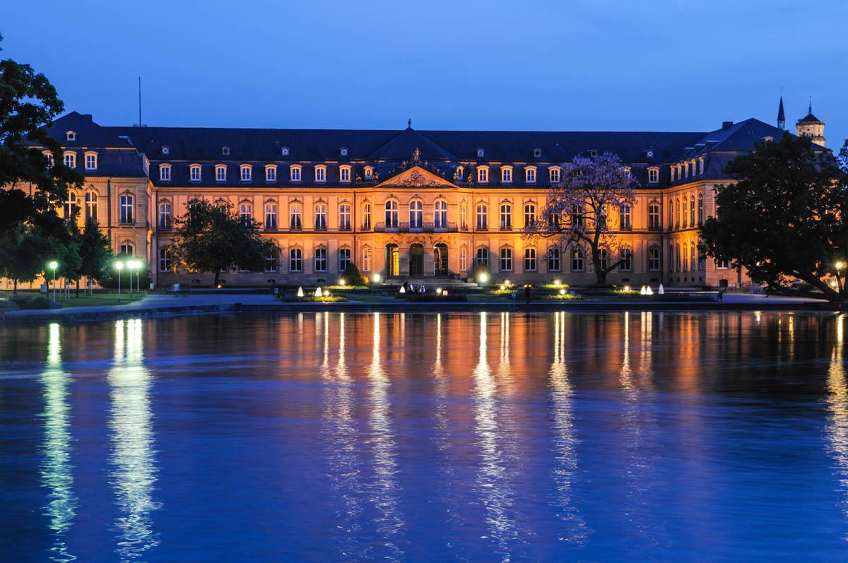 Stuttgarter Neues Schloss Nachtaufnahme