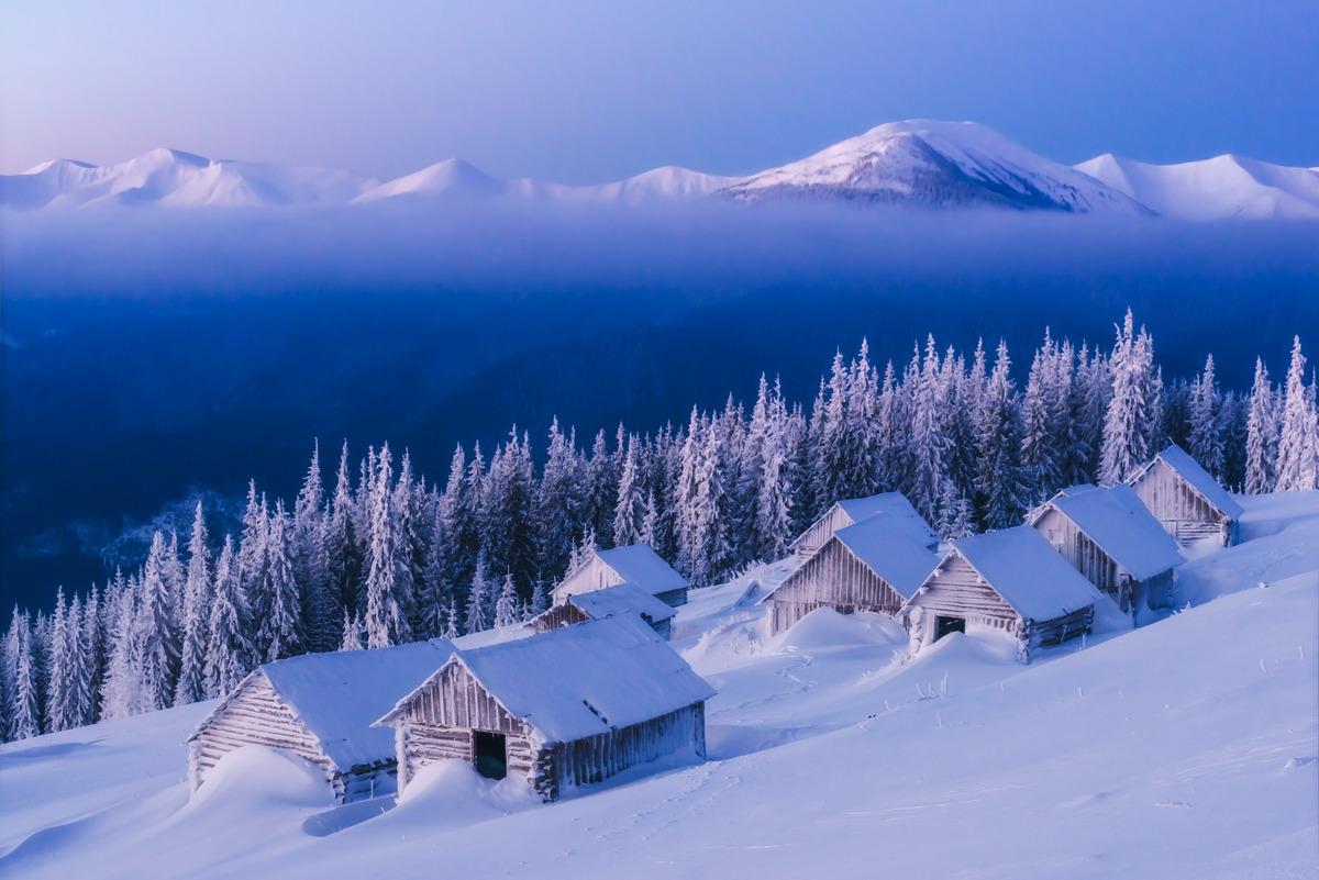 Winter in den ukrainischen Karpaten