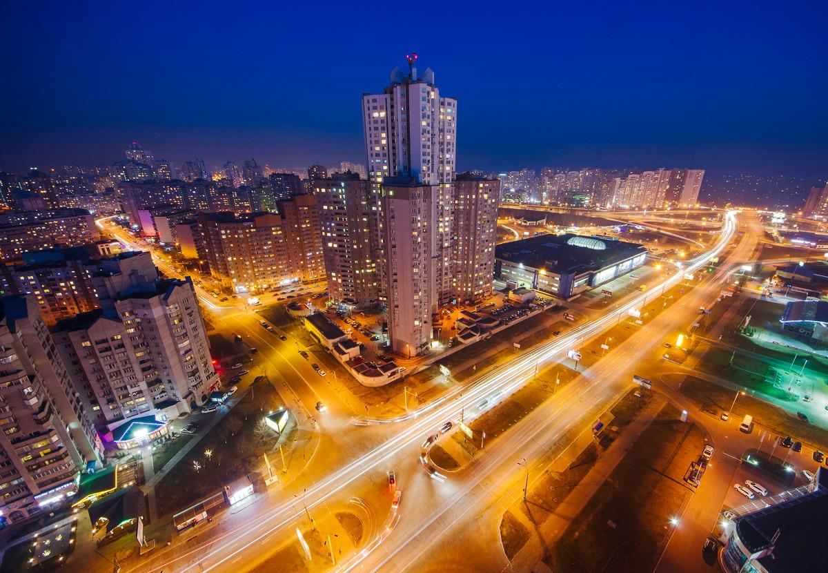 Nachtaufnahme von Kiew