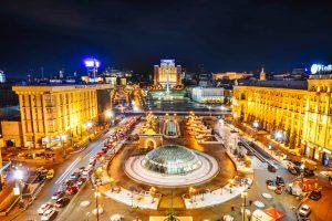 Blick über den Unabhängigkeitsplatz Majdan in Kiew