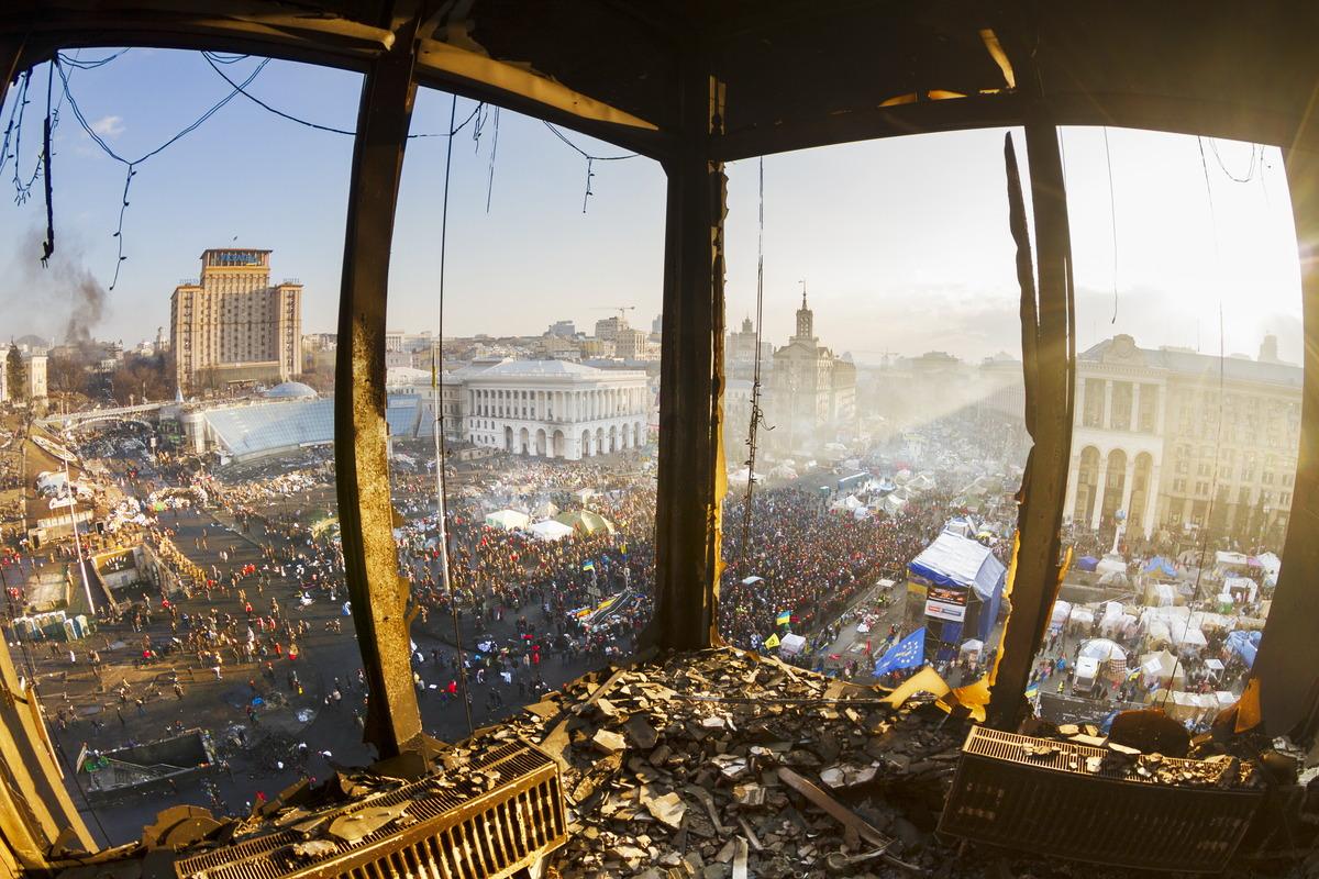 Blick über den Unabhängigkeitsplatz Majdan in Kiew während der Proteste 2014
