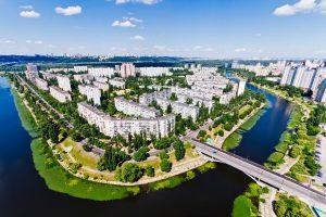 Wohnviertel in Kiew / Stadtteil Rusanovka