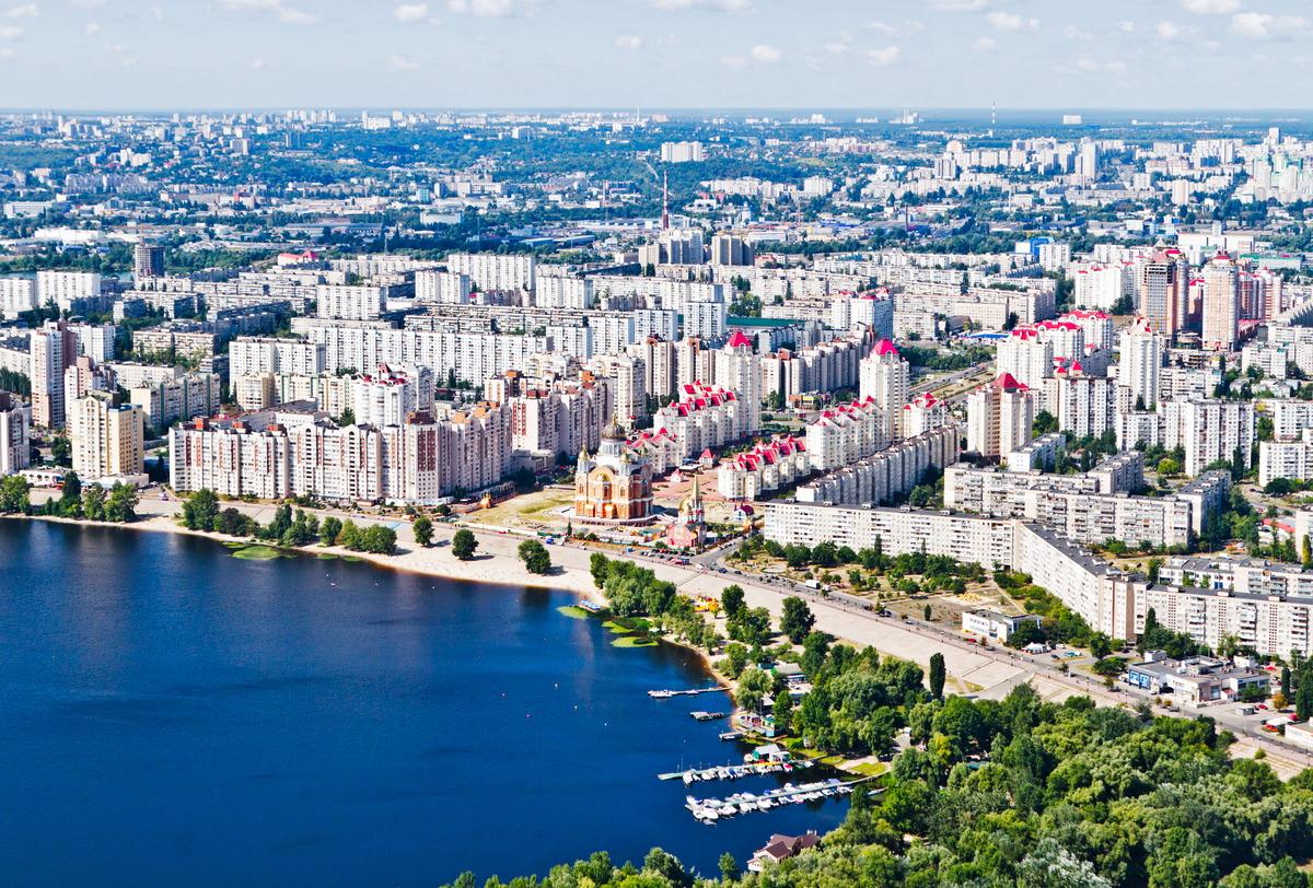 Blick auf ein Wohngebiet in Kiew