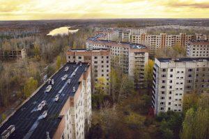 Blick über Prypjat in der Nähe von Tschernobyl