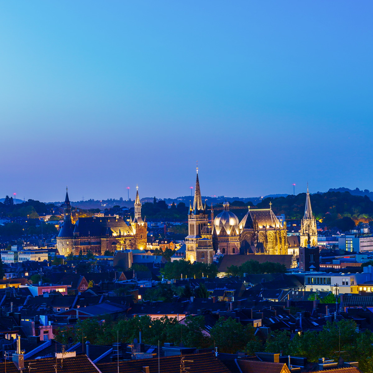 Nächtlicher Blick über Aachen