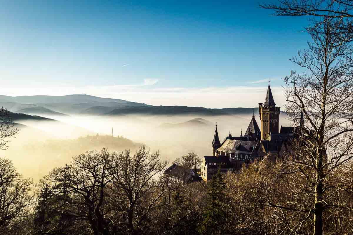 Wernigeröder Schloss im Nebel
