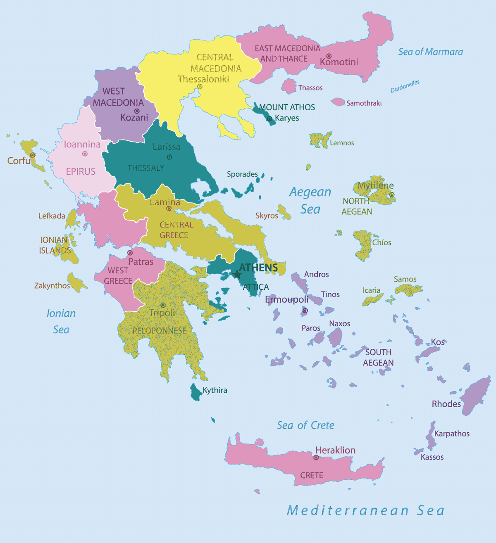 Griechenland Karte - Regionen und Inseln