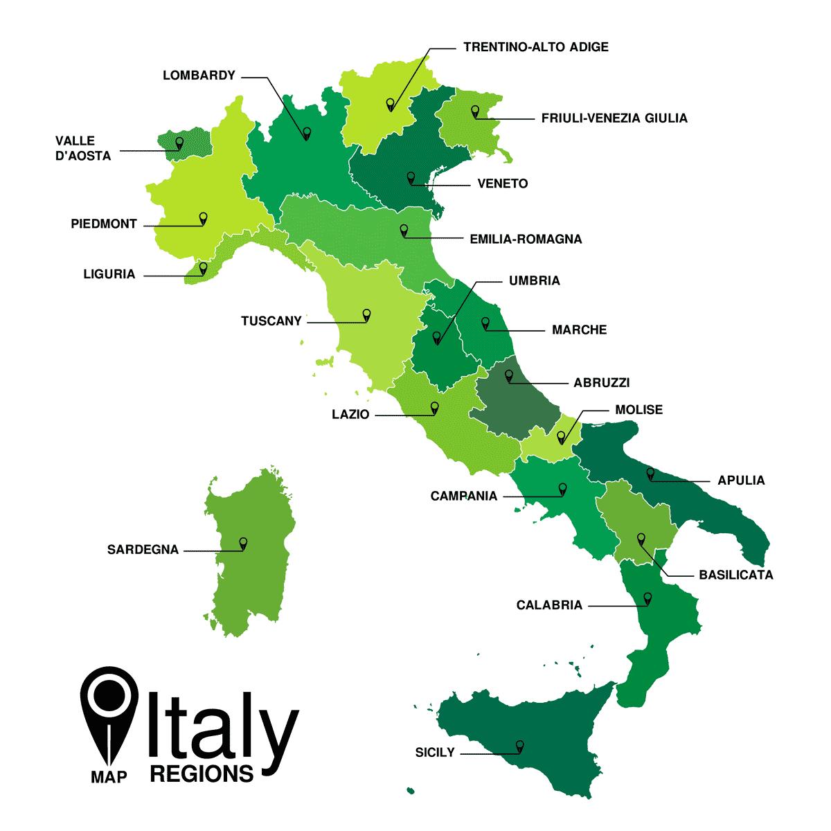 Karte: Regionen in Italien