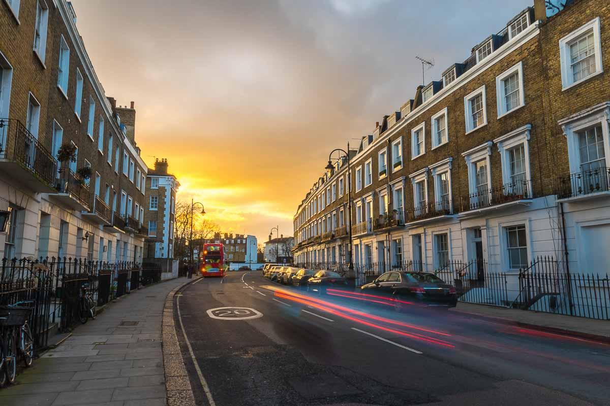 Typische Wohngebäude in London