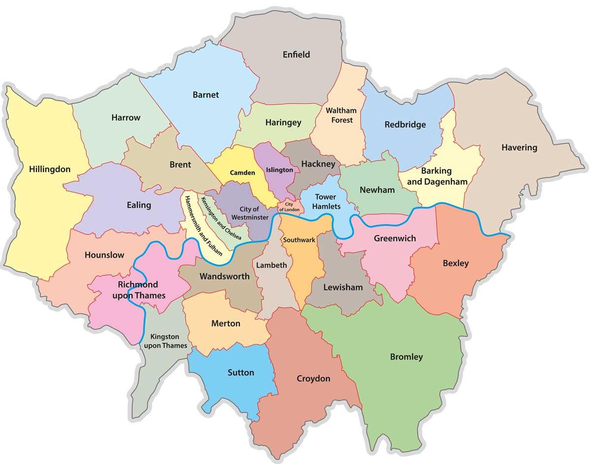 Karte: London mit Stadtteilen