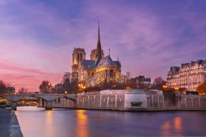 Notre Dame im Sonnenuntergang